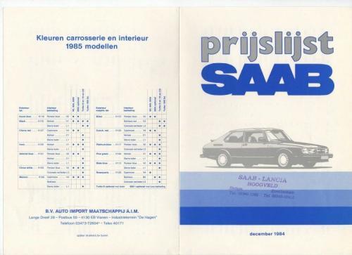 MY85 - Nieuwprijzen december 1984