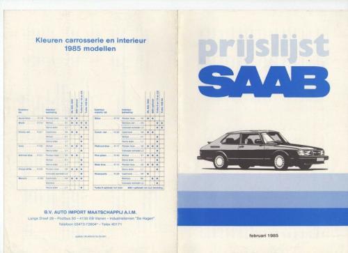 MY85 - Nieuwprijzen februari 1985