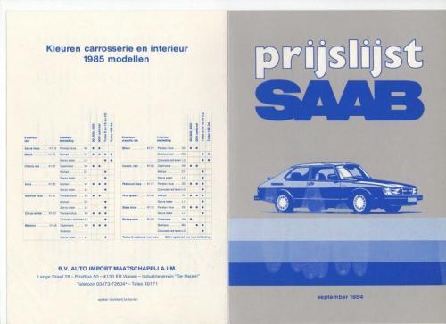 Nieuwprijzen MY85 - September 1984 01