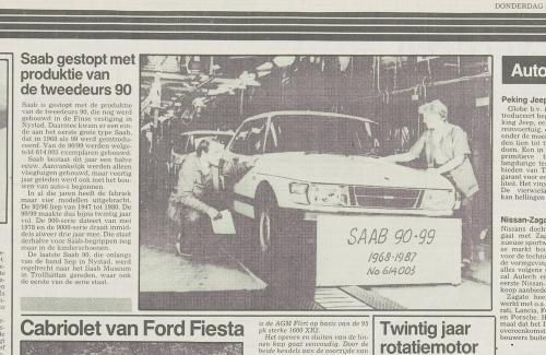 Pers over de Saab 90 - Productiestop artikel, 1987